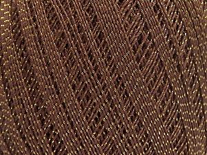 Ne: 10/3 Nm: 17/3 Fiber Content 96% Mercerised Cotton, 4% Metallic Lurex, Brand ICE, Gold, Brown, Yarn Thickness 1 SuperFine  Sock, Fingering, Baby, fnt2-49852