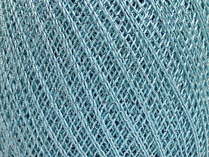 Ne: 10/3 Nm: 17/3 Fiber Content 96% Mercerised Cotton, 4% Metallic Lurex, Silver, Light Blue, Brand Ice Yarns, Yarn Thickness 1 SuperFine  Sock, Fingering, Baby, fnt2-49854