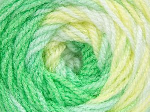 . Fiber Content 100% Baby Acrylic, Yellow, White, Brand ICE, Green Shades, Yarn Thickness 2 Fine  Sport, Baby, fnt2-50003
