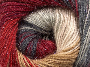 Fiber Content 57% Premium Acrylic, 3% Metallic Lurex, 20% Wool, 20% Mohair, Red, Brand ICE, Grey, Cream, Burgundy, Yarn Thickness 2 Fine  Sport, Baby, fnt2-50307