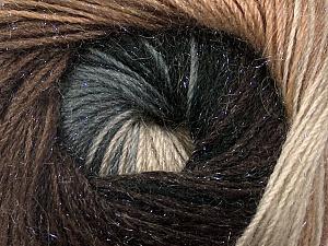 Fiber Content 57% Premium Acrylic, 3% Metallic Lurex, 20% Wool, 20% Mohair, Brand ICE, Grey Shades, Brown Shades, Yarn Thickness 2 Fine  Sport, Baby, fnt2-50315