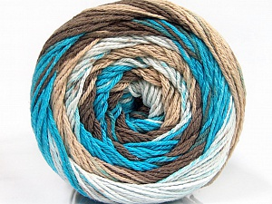 Fiber Content 100% Cotton, White, Turquoise, Brand ICE, Brown Shades, Yarn Thickness 3 Light  DK, Light, Worsted, fnt2-50559