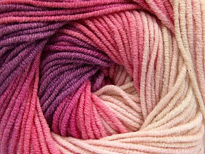 Fiber Content 55% Cotton, 45% Acrylic, Lilac, Light Pink, Brand ICE, Cream, Yarn Thickness 3 Light  DK, Light, Worsted, fnt2-51449