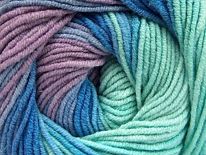 Fiber Content 55% Cotton, 45% Acrylic, Mint Green, Lilac, Brand ICE, Blue, Yarn Thickness 3 Light  DK, Light, Worsted, fnt2-51450