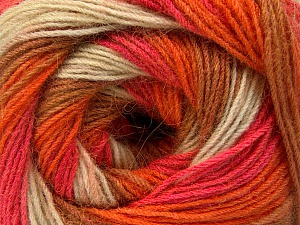 Fiber Content 60% Acrylic, 20% Wool, 20% Angora, Salmon, Orange, Light Brown, Brand ICE, Cream, Yarn Thickness 2 Fine  Sport, Baby, fnt2-53557