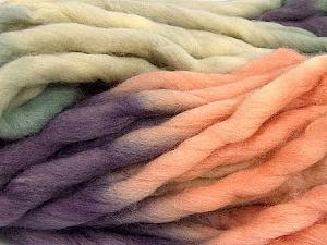 Fiber Content 100% Superwash Wool, Purple, Light Salmon, Khaki, Brand ICE, Yarn Thickness 6 SuperBulky  Bulky, Roving, fnt2-53572
