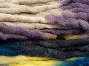 Fiber Content 100% Superwash Wool, Yellow, Purple, Brand ICE, Blue, Black, Yarn Thickness 6 SuperBulky  Bulky, Roving, fnt2-53573