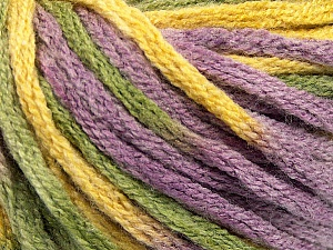 Fiber Content 50% Wool, 50% Acrylic, Yellow, Lilac, Brand ICE, Green, Yarn Thickness 6 SuperBulky  Bulky, Roving, fnt2-54384