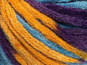 Fiber Content 50% Wool, 50% Acrylic, Purple, Brand ICE, Gold, Blue, Yarn Thickness 6 SuperBulky  Bulky, Roving, fnt2-54385