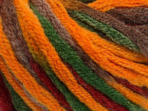 Fiber Content 50% Wool, 50% Acrylic, Brand ICE, Green, Gold, Burgundy, Brown, Yarn Thickness 6 SuperBulky  Bulky, Roving, fnt2-54873