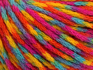 Fiber Content 60% Acrylic, 40% Wool, Yellow, Turquoise, Orange, Brand ICE, Fuchsia, Yarn Thickness 3 Light  DK, Light, Worsted, fnt2-55537
