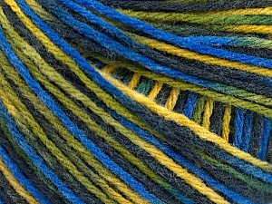 Fiber Content 50% Acrylic, 50% Wool, Yellow, Brand ICE, Green, Blue Shades, Yarn Thickness 3 Light  DK, Light, Worsted, fnt2-56217