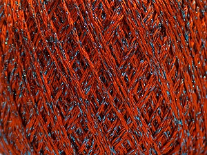 Fiber Content 75% Viscose, 25% Metallic Lurex, Brand ICE, Dark Orange, Blue, Yarn Thickness 2 Fine  Sport, Baby, fnt2-57024