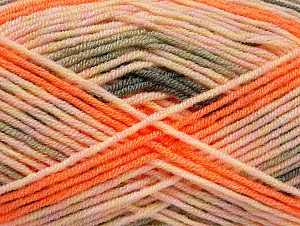 Fiber Content 100% Acrylic, Salmon, Orange, Khaki, Brand ICE, Yarn Thickness 3 Light  DK, Light, Worsted, fnt2-58133