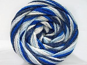 Fiber Content 50% Acrylic, 50% Polyamide, White, Navy, Brand ICE, Blue Shades, Yarn Thickness 5 Bulky  Chunky, Craft, Rug, fnt2-59350