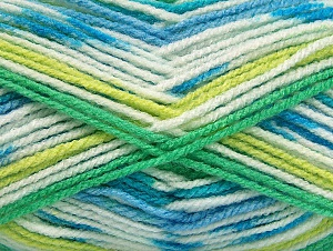Fiber Content 100% Acrylic, White, Turquoise, Brand ICE, Green Shades, Blue, Yarn Thickness 4 Medium  Worsted, Afghan, Aran, fnt2-59728