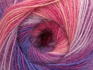 Fiber Content 60% Acrylic, 20% Angora, 20% Wool, Yellow, White, Purple, Pink Shades, Lilac Shades, Brand ICE, Yarn Thickness 2 Fine  Sport, Baby, fnt2-59753