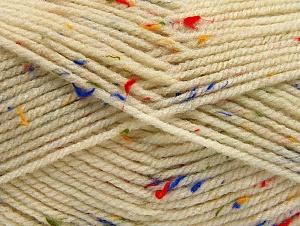 Fiber Content 95% Acrylic, 5% Viscose, Rainbow, Brand ICE, Cream, Yarn Thickness 4 Medium  Worsted, Afghan, Aran, fnt2-59759