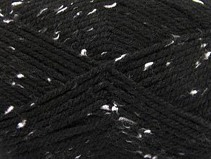 Fiber Content 95% Acrylic, 5% Viscose, White, Brand ICE, Black, Yarn Thickness 4 Medium  Worsted, Afghan, Aran, fnt2-59760