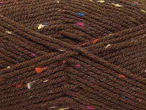 Fiber Content 95% Acrylic, 5% Viscose, Rainbow, Brand ICE, Brown, Yarn Thickness 4 Medium  Worsted, Afghan, Aran, fnt2-59762