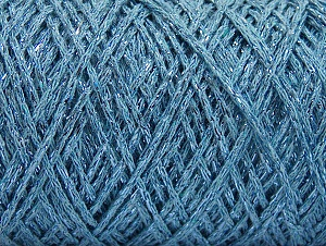 Fiber Content 90% Cotton, 10% Metallic Lurex, Light Blue, Brand ICE, Yarn Thickness 4 Medium  Worsted, Afghan, Aran, fnt2-60137