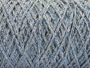Fiber Content 90% Cotton, 10% Metallic Lurex, Light Grey, Brand ICE, Blue, Yarn Thickness 4 Medium  Worsted, Afghan, Aran, fnt2-60138