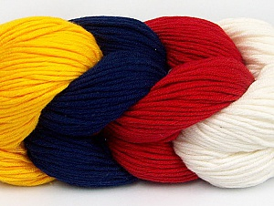 You will love the cotton & acrylic blend of Iceyarns Art color cotton. Art color cotton is a DK weight yarn in delightful 4 color combinations.<br>Each 100 gram hank is made up of 4 individual small hanks .Each small hank is 25 gr / 57 yds. You can simply separate small hanks.<br>Each color is separate. In this way,  you can start from the color you want and create your color combinations. Fiber Content 50% Acrylic, 50% Cotton, Red, Navy, Brand ICE, Ecru, Dark Yellow, Yarn Thickness 3 Light  DK, Light, Worsted, fnt2-60265
