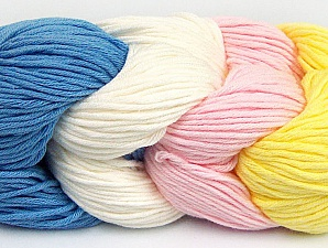 You will love the cotton & acrylic blend of Iceyarns Art color cotton. Art color cotton is a DK weight yarn in delightful 4 color combinations.<br>Each 100 gram hank is made up of 4 individual small hanks .Each small hank is 25 gr / 57 yds. You can simply separate small hanks.<br>Each color is separate. In this way,  you can start from the color you want and create your color combinations. Fiber Content 50% Acrylic, 50% Cotton, Yellow, Light Pink, Brand ICE, Ecru, Blue, Yarn Thickness 3 Light  DK, Light, Worsted, fnt2-60267