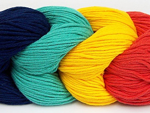 You will love the cotton & acrylic blend of Iceyarns Art color cotton. Art color cotton is a DK weight yarn in delightful 4 color combinations.<br>Each 100 gram hank is made up of 4 individual small hanks .Each small hank is 25 gr / 57 yds. You can simply separate small hanks.<br>Each color is separate. In this way,  you can start from the color you want and create your color combinations. Fiber Content 50% Acrylic, 50% Cotton, Salmon, Navy, Brand ICE, Emerald Dark Green Yellow, Yarn Thickness 3 Light  DK, Light, Worsted, fnt2-60269