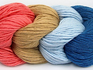 You will love the cotton & acrylic blend of Iceyarns Art color cotton. Art color cotton is a DK weight yarn in delightful 4 color combinations.<br>Each 100 gram hank is made up of 4 individual small hanks .Each small hank is 25 gr / 57 yds. You can simply separate small hanks.<br>Each color is separate. In this way,  you can start from the color you want and create your color combinations. Fiber Content 50% Acrylic, 50% Cotton, Salmon, Light Blue, Brand ICE, Camel, Blue, Yarn Thickness 3 Light  DK, Light, Worsted, fnt2-60456