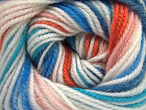 Fiber Content 100% Premium Acrylic, Turquoise, Orange, Light Pink, Brand ICE, Blue, Yarn Thickness 3 Light  DK, Light, Worsted, fnt2-60878