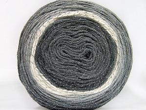 Fiber Content 95% Acrylic, 5% Metallic Lurex, White, Brand ICE, Grey Shades, Yarn Thickness 3 Light  DK, Light, Worsted, fnt2-61251