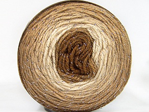 Fiber Content 95% Acrylic, 5% Metallic Lurex, Brand ICE, Cream, Brown Shades, Yarn Thickness 3 Light  DK, Light, Worsted, fnt2-61252
