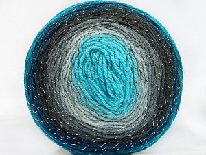 Fiber Content 95% Acrylic, 5% Metallic Lurex, White, Turquoise Shades, Brand ICE, Grey Shades, Yarn Thickness 3 Light  DK, Light, Worsted, fnt2-61254