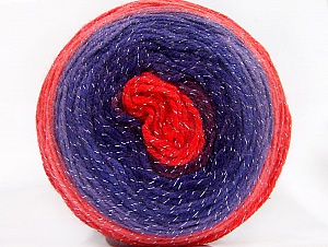 Fiber Content 95% Acrylic, 5% Metallic Lurex, Red Shades, Purple Shades, Brand ICE, Yarn Thickness 3 Light  DK, Light, Worsted, fnt2-61261
