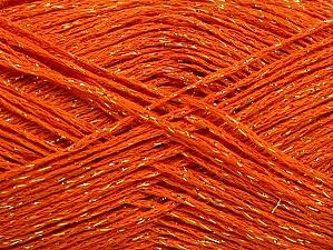 Fiber Content 75% Viscose, 25% Metallic Lurex, Orange, Brand ICE, Gold, fnt2-62239
