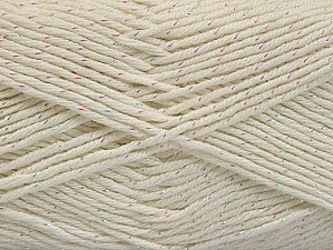 Fiber Content 49% Cotton, 49% Premium Acrylic, 2% Metallic Lurex, White, Brand ICE, fnt2-62884