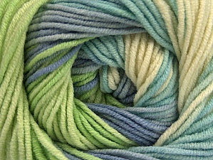 Fiber Content 55% Cotton, 45% Acrylic, Brand ICE, Green, Cream, Blue Shades, Yarn Thickness 3 Light  DK, Light, Worsted, fnt2-63089