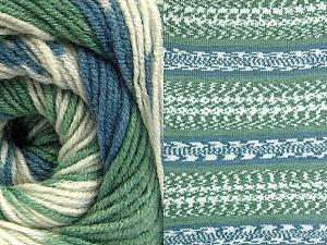 Fiber Content 70% Acrylic, 30% Wool, Brand ICE, Green, Cream, Blue, Yarn Thickness 3 Light  DK, Light, Worsted, fnt2-63207