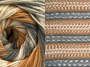 Contenido de fibra 70% Acrílico, 30% Lana, Light Brown, Brand ICE, Grey, Cream, Yarn Thickness 3 Light  DK, Light, Worsted, fnt2-63210