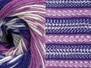 Contenido de fibra 70% Acrílico, 30% Lana, White, Purple, Lilac, Brand ICE, Yarn Thickness 3 Light  DK, Light, Worsted, fnt2-63211