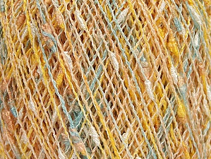 Fiberinnehåll 65% Akryl, 20% Bomull, 15% Polyamid, Yellow, White, Mint Green, Light Salmon, Brand ICE, Yarn Thickness 1 SuperFine  Sock, Fingering, Baby, fnt2-63309