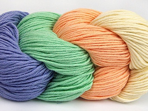 You will love the cotton & acrylic blend of Iceyarns Art color cotton. Art color cotton is a DK weight yarn in delightful 4 color combinations.<br>Each 100 gram hank is made up of 4 individual small hanks .Each small hank is 25 gr / 57 yds. You can simply separate small hanks.<br>Each color is separate. In this way,  you can start from the color you want and create your color combinations. Fiber Content 50% Acrylic, 50% Cotton, Mint Light Green Salmon, Lilac, Brand ICE, Cream, Yarn Thickness 3 Light  DK, Light, Worsted, fnt2-63486
