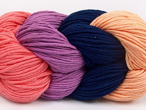 You will love the cotton & acrylic blend of Iceyarns Art color cotton. Art color cotton is a DK weight yarn in delightful 4 color combinations.<br>Each 100 gram hank is made up of 4 individual small hanks .Each small hank is 25 gr / 57 yds. You can simply separate small hanks.<br>Each color is separate. In this way,  you can start from the color you want and create your color combinations. Fiber Content 50% Acrylic, 50% Cotton, Salmon, Navy, Light Salmon, Lavender, Brand ICE, Yarn Thickness 3 Light  DK, Light, Worsted, fnt2-63490