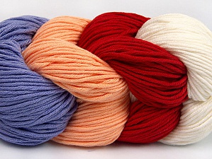 You will love the cotton & acrylic blend of Iceyarns Art color cotton. Art color cotton is a DK weight yarn in delightful 4 color combinations.<br>Each 100 gram hank is made up of 4 individual small hanks .Each small hank is 25 gr / 57 yds. You can simply separate small hanks.<br>Each color is separate. In this way,  you can start from the color you want and create your color combinations. Fiber Content 50% Acrylic, 50% Cotton, White, Red, Lilac, Light Salmon, Brand ICE, Yarn Thickness 3 Light  DK, Light, Worsted, fnt2-63492