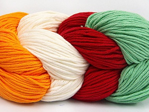 You will love the cotton & acrylic blend of Iceyarns Art color cotton. Art color cotton is a DK weight yarn in delightful 4 color combinations.<br>Each 100 gram hank is made up of 4 individual small hanks .Each small hank is 25 gr / 57 yds. You can simply separate small hanks.<br>Each color is separate. In this way,  you can start from the color you want and create your color combinations. Fiber Content 50% Acrylic, 50% Cotton, White, Red, Mint Green, Brand ICE, Gold, Yarn Thickness 3 Light  DK, Light, Worsted, fnt2-63493
