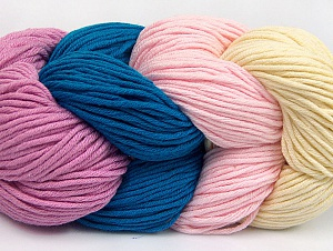 You will love the cotton & acrylic blend of Iceyarns Art color cotton. Art color cotton is a DK weight yarn in delightful 4 color combinations.<br>Each 100 gram hank is made up of 4 individual small hanks .Each small hank is 25 gr / 57 yds. You can simply separate small hanks.<br>Each color is separate. In this way,  you can start from the color you want and create your color combinations. Fiber Content 50% Acrylic, 50% Cotton, Teal, Orchid, Light Pink, Brand ICE, Cream, Yarn Thickness 3 Light  DK, Light, Worsted, fnt2-63494