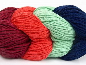 You will love the cotton & acrylic blend of Iceyarns Art color cotton. Art color cotton is a DK weight yarn in delightful 4 color combinations.<br>Each 100 gram hank is made up of 4 individual small hanks .Each small hank is 25 gr / 57 yds. You can simply separate small hanks.<br>Each color is separate. In this way,  you can start from the color you want and create your color combinations. Fiber Content 50% Acrylic, 50% Cotton, Tomato Red, Navy, Mint Green, Brand ICE, Burgundy, Yarn Thickness 3 Light  DK, Light, Worsted, fnt2-63496