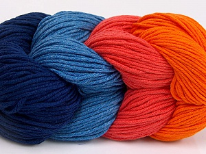 You will love the cotton & acrylic blend of Iceyarns Art color cotton. Art color cotton is a DK weight yarn in delightful 4 color combinations.<br>Each 100 gram hank is made up of 4 individual small hanks .Each small hank is 25 gr / 57 yds. You can simply separate small hanks.<br>Each color is separate. In this way,  you can start from the color you want and create your color combinations. Fiber Content 50% Acrylic, 50% Cotton, Salmon, Orange, Navy, Jeans Blue, Brand ICE, Yarn Thickness 3 Light  DK, Light, Worsted, fnt2-63499