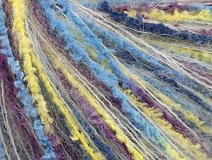 Fiber Content 50% Polyamide, 30% Acrylic, 20% Mohair, Yellow, White, Turquoise, Purple, Brand ICE, fnt2-64483